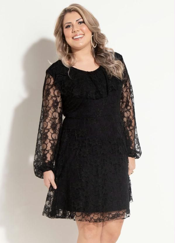 e69525a14e vestido longo festa preto renda moda evangelica - Busca na Mifil ...