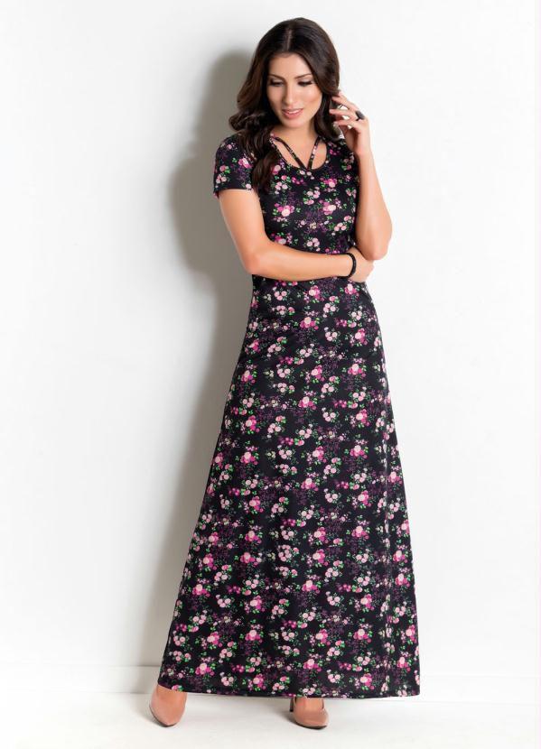 Vestido Longo Floral Dark Rosa