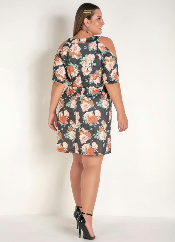 Vestido Floral Mangas Vazadas Plus Size