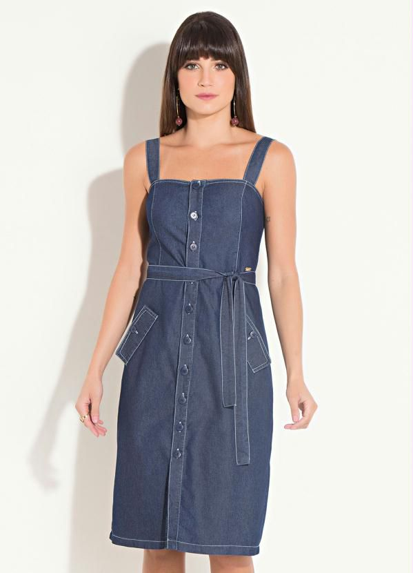 Vestido Jeans Alças Midi