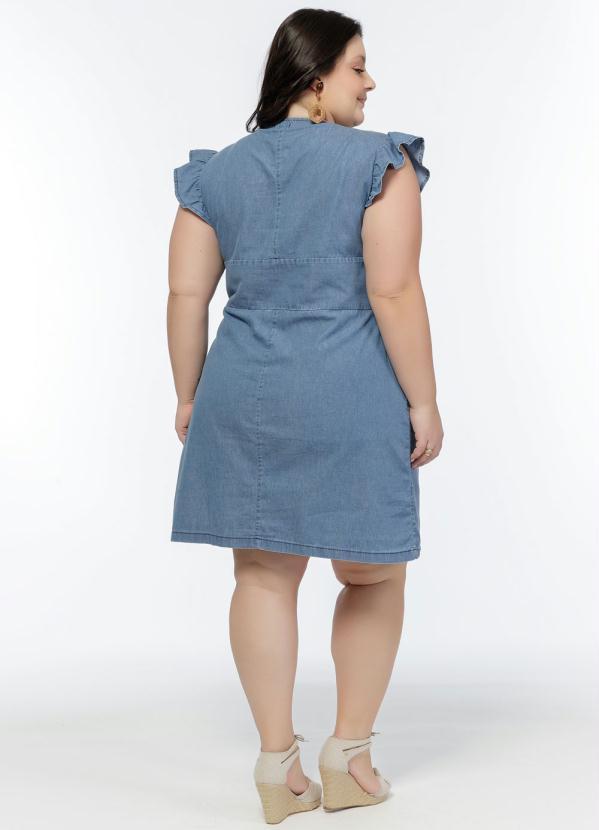 Vestido Jeans Manga Curta Babado Plus Size
