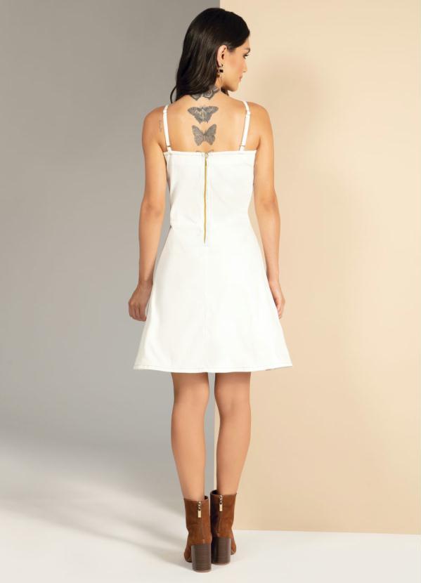 Vestido Jeans Off White Alcinha com Amarração