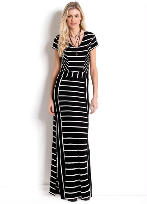 5635db615f vestido curto tubinho trico listrado preto branco evangelico - Busca ...
