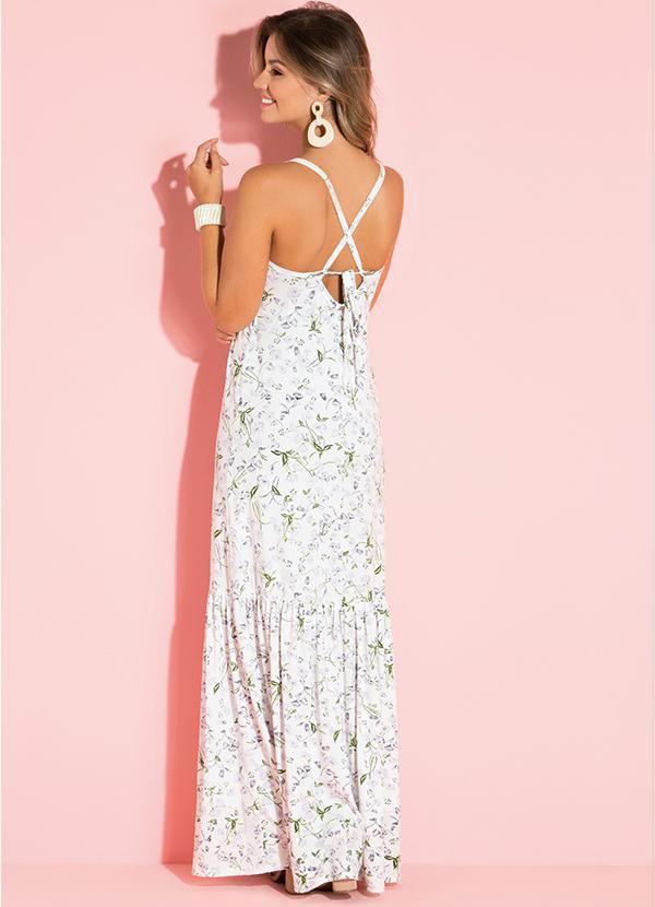Vestido Longo Alças Branco Floral