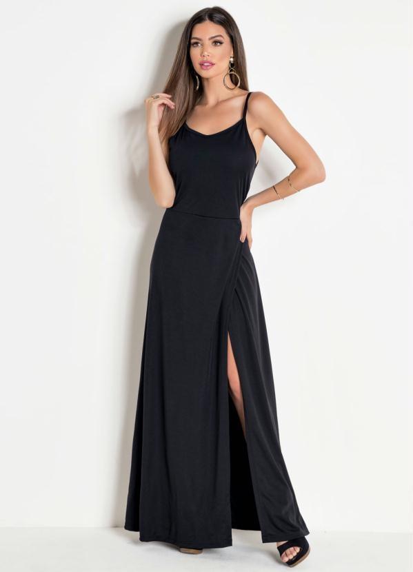 Vestido Longo Alças Com Fenda Preto
