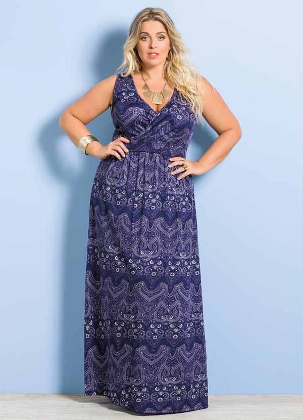 45aa5b46f vestido evangelico longo manga curta azul plus size - - Marca ...