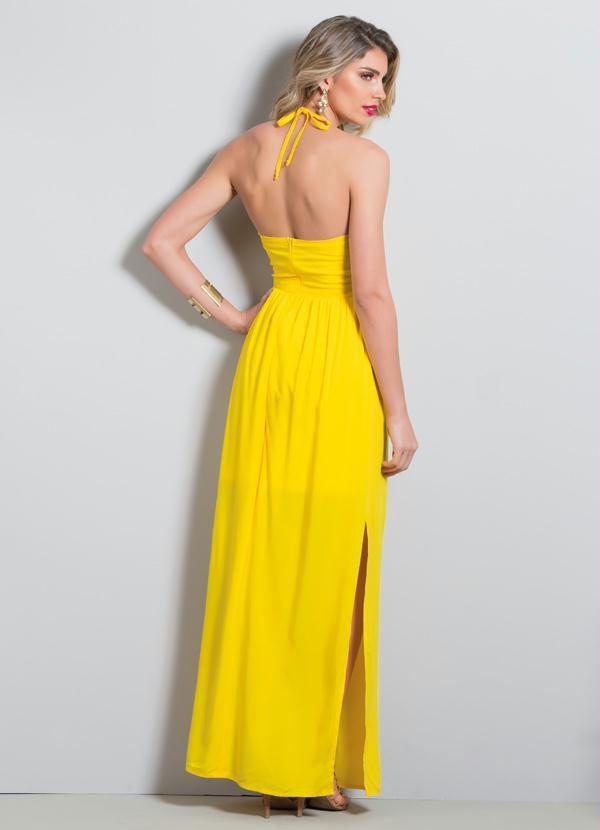 Vestido Longo com Fenda Amarelo