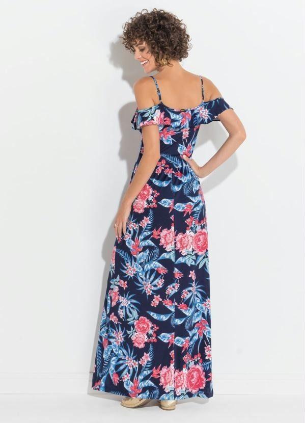 Vestido Ciganinha Florido Azul