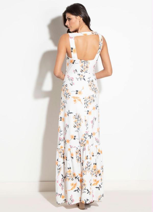 Vestido Longo Floral Laranja