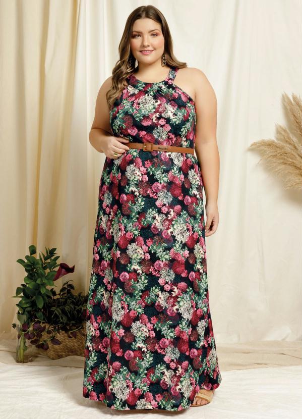 Vestido Longo Floral Preto Plus Size