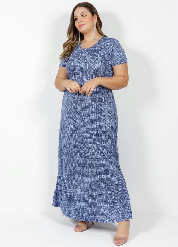 Vestido Longo Manga Curta Abstrato Azul Plus Size