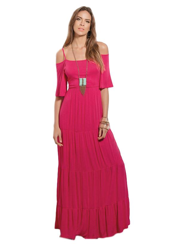 Vestido Longo Ombro Vazado Rosa