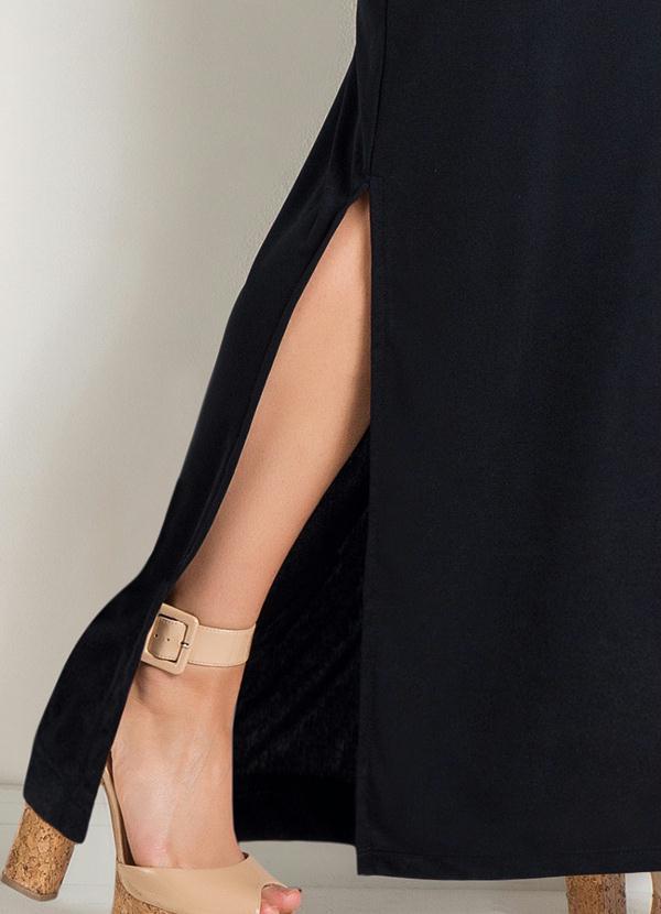Vestido Longo Regata com Fenda Preto