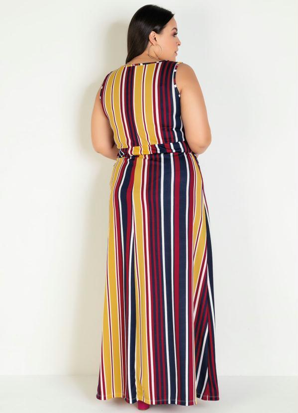Vestido Longo Regata Transpassado Listrado Plus Size