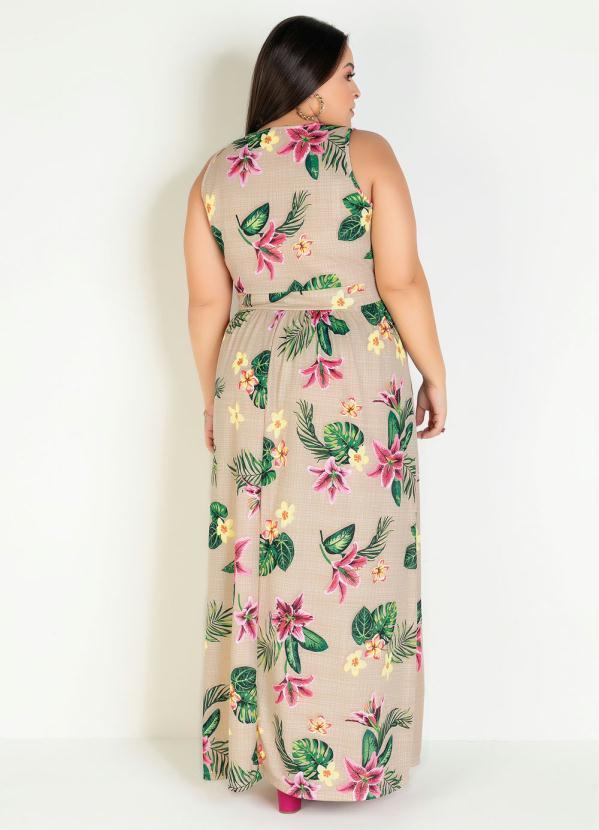Vestido Longo Transpassado Floral Bege Plus Size