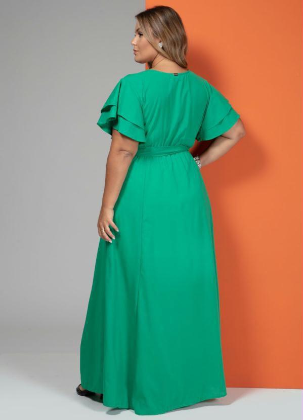 Vestido Festa Longo Verde com Cinto