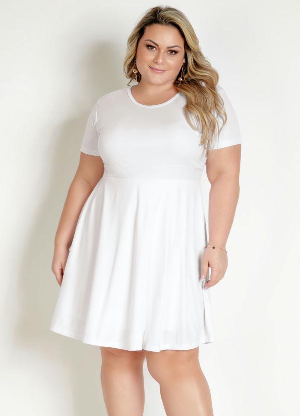 Vestido Manga Curta Plus Size Branco