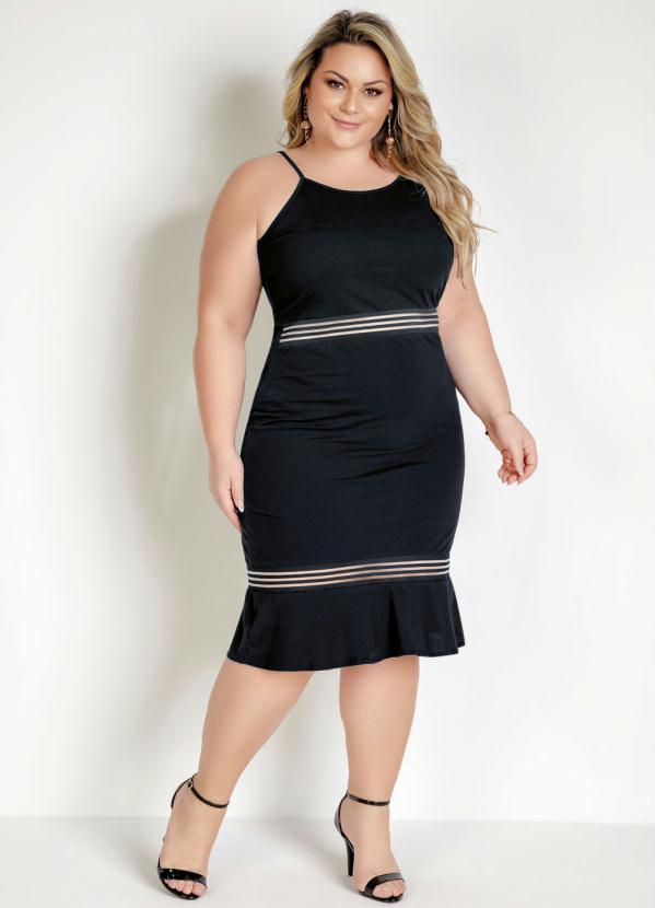 Vestido Midi Alças com Elastico Plus Size Preto