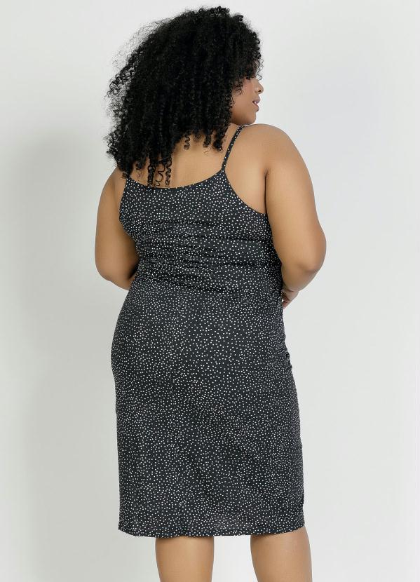 Vestido Midi Alças Poá Preto Plus Size
