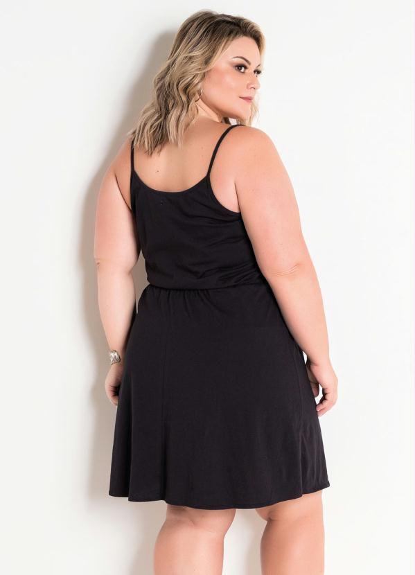 Vestido Plus Size Alças Decote Transpassado Preto
