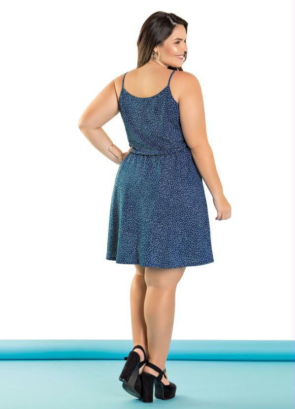 Vestido Plus Size Alças Decote Transpassado Poá Azul
