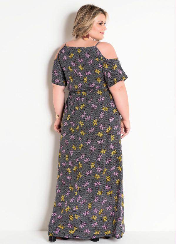 Vestido Plus Size Ombro Vazado Floral