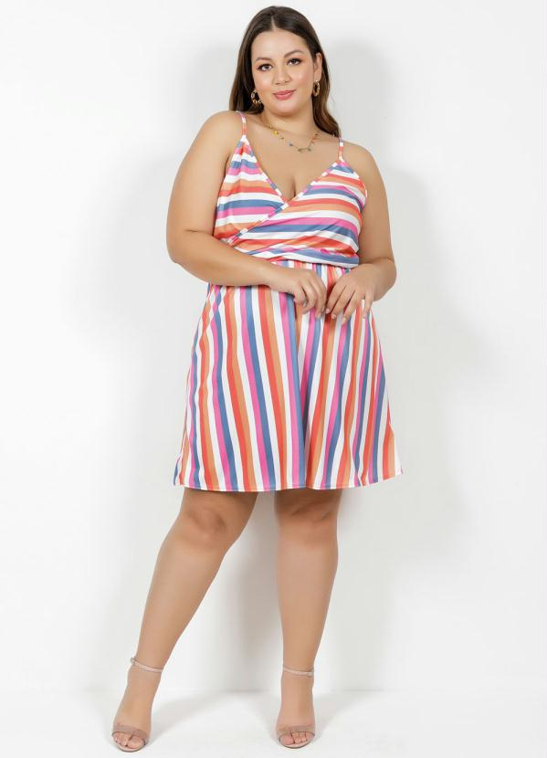 Vestido Transpassado Alças Listrado Colorido Plus Size
