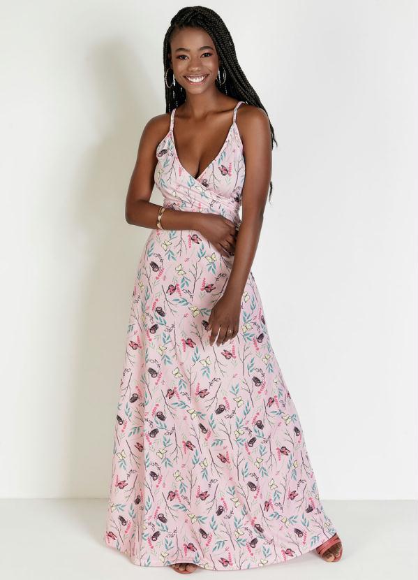 Vestido Transpassado Borboleta Rosa