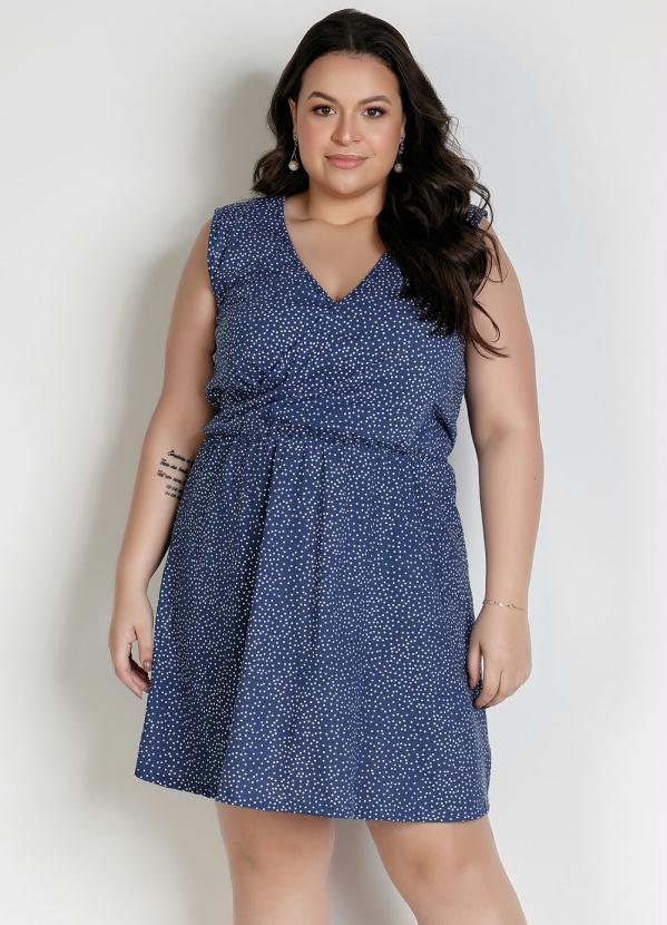 Vestido Transpassado Regata Poá Azul Plus Size