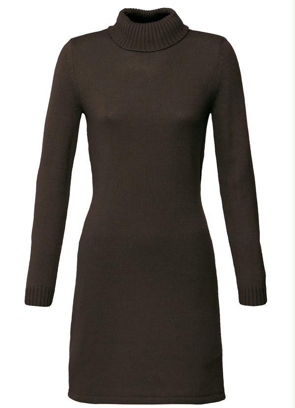 Vestido Tricô Marrom Escuro
