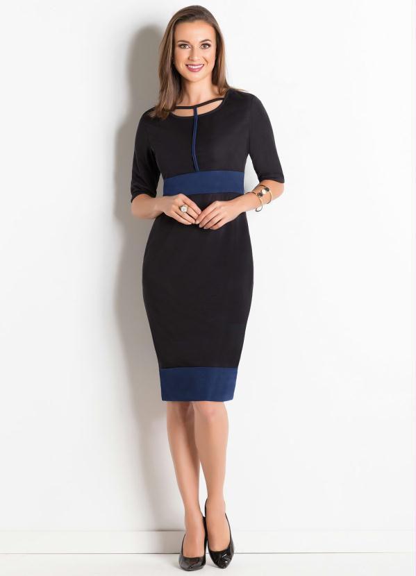Vestido Tubinho Preto e Azul