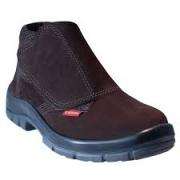 Botina Segurança Couro Nobuck Marrom Velcro Bico de Aço CA 16253