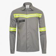 Camisa NR 10 Eletricista Anti-Chama Cinza ou Azul Royal Com Refletivo P ao EXG CA 33451