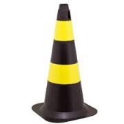 Cone Sinalização em PVC Rigido Amarelo e Preto / Laranja e Branco 50cm
