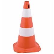 Cone PVC Laranja e Branco 75cm