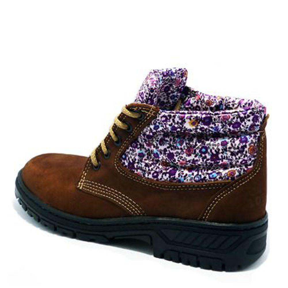 Botina Boot Minas Adventure Couro Nobuck Ameixa Floral