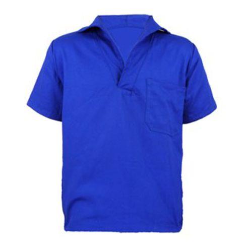 Camisa Brim Gola Italiana Manga Curta Azul Royal / Cinza / azul Marinho