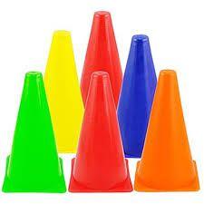 Cone esportivo pvc flexível 23cm caixa com 10 peças