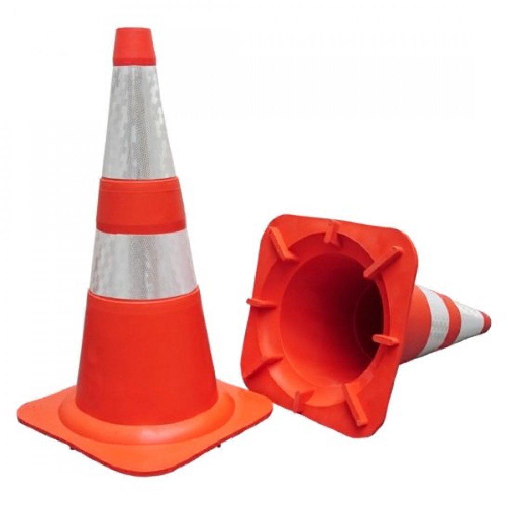 Cone Flexível Plastcor Laranja Faixa Refletiva Nbr 15071 75cm
