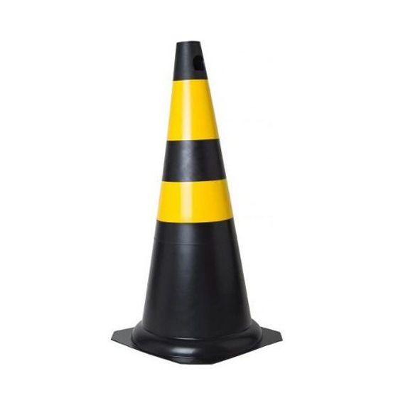 Cone PVC Preto e amarelo 75cm