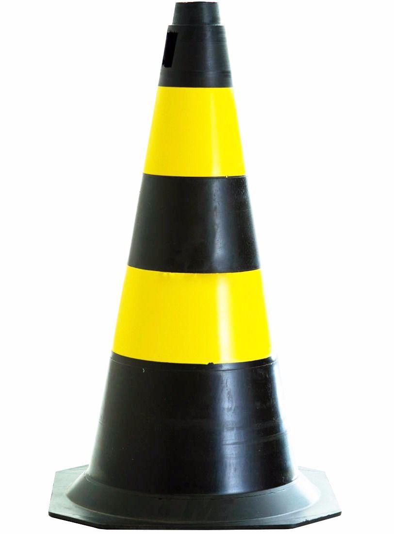 Cone PVC Preto e Amarelo 75cm Embalagem Com 10 Peças