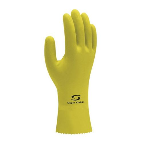 Luva Látex Super Safety Amarela Tam. G  - 12 Pares