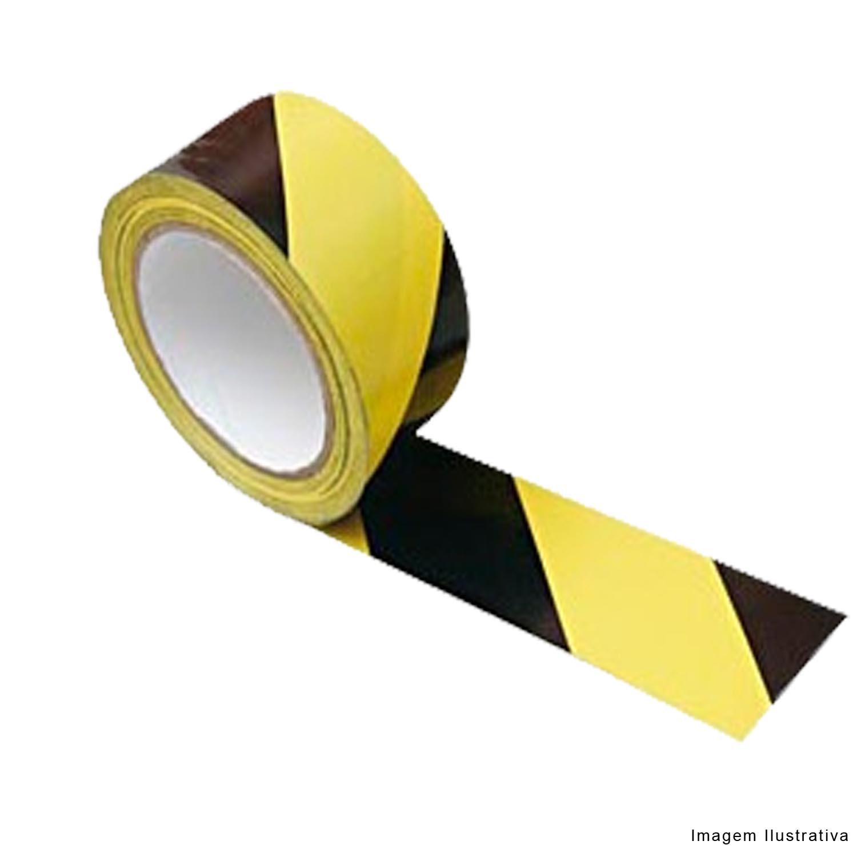 Fita Adesiva Demarcação Solo Zebrada Amarela e Preta 48 x 30 metros