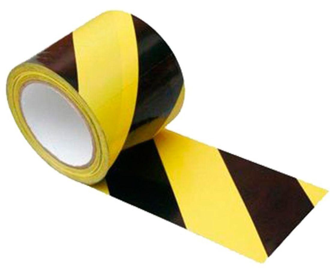 Fita Adesiva Sinalização Demarcação Amarela e Preta 48mm x 30mt