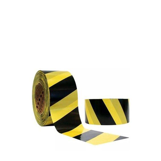 Fita Sinalização Plastcor Amarela e Preta 200 Metros