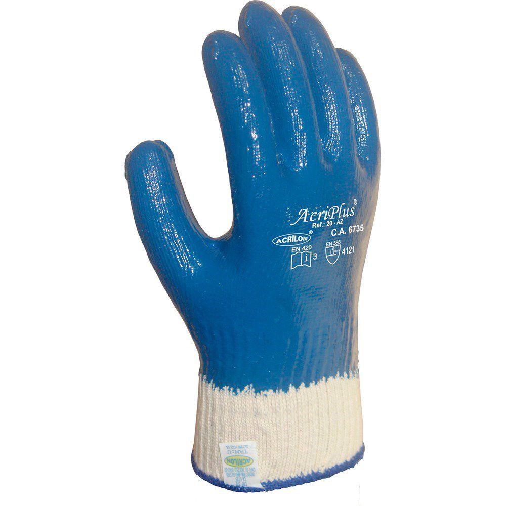 Luva Malha Emborrachada Acrilon Acriplus Total Azul