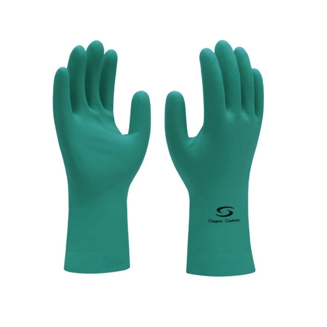 Luva Nitrílica Forrada Super Safety Verde Tamanho P ao XG 12 Pares