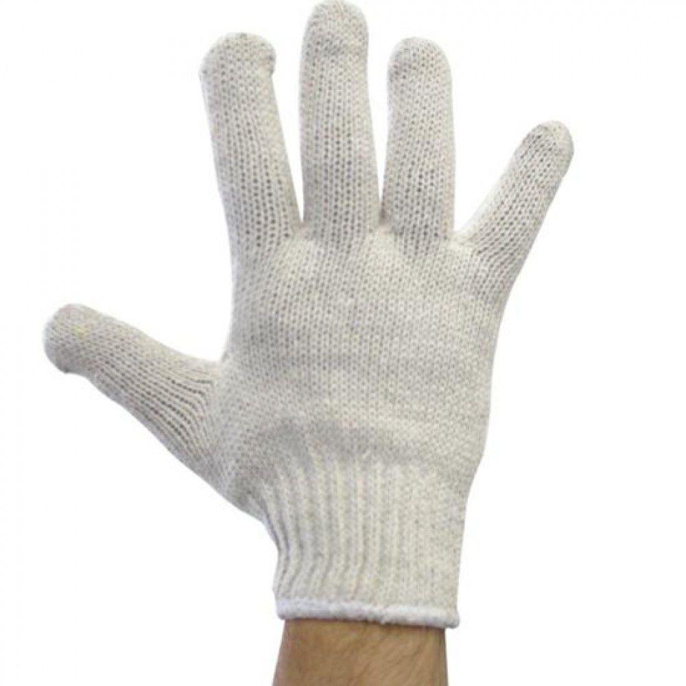 Luva Pro Security De Malha Tricotada Algodão 4 Fios Branca - 12 Pares