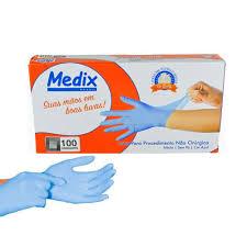 Luva Procedimento Medix Nitrílica Azul Sem Pó