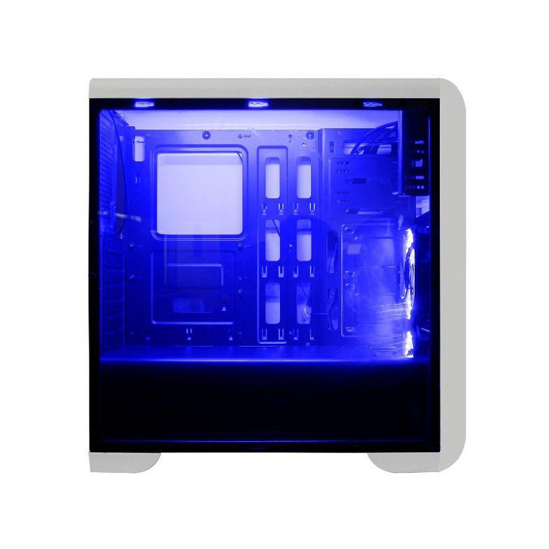 Gabinete Mymax Gamer Tornado Branco/Preto com Led Azul  - Líder Brasil Informática